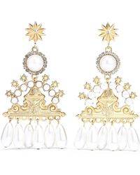 Elizabeth Cole 24-karat Gold-plated, Faux Pearl And Crystal Earrings White