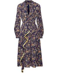 Adam Lippes - Fringe-trimmed Metallic Floral-print Silk-georgette Midi Dress - Lyst