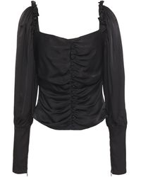 Mother Of Pearl Sasha Ruched Hammered-satin Blouse - Black