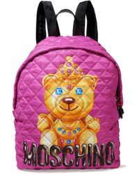 Moschino - Leather-trimmed Quilted Printed Shell Backpack - Lyst