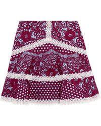 Alexis - Novalie Macramé Lace Mini Skirt - Lyst