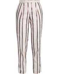 Day Birger et Mikkelsen - Woman Metallic Striped Canvas Tapered Trousers Ecru - Lyst