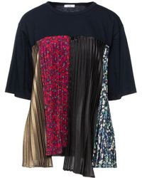 CLU Panelled Pleated Crepe And French Cotton-terry Sweatshirt Midnight Blue - Multicolour
