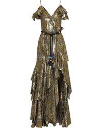 Peter Pilotto Cold-shoulder Ruffled Floral-print Silk-blend Lamé Gown Gold - Metallic