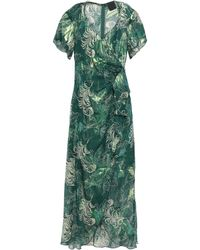 Anna Sui Wrap-effect Metallic Fil Coupé Silk-blend Midi Dress Forest Green