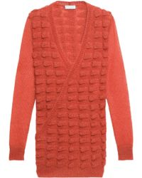 Vionnet | Wrap-effect Textured Mohair-blend Sweater Bright Orange | Lyst