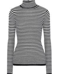 Soft Joie - Woman Zelene Striped Knitted Turtleneck Top Black - Lyst