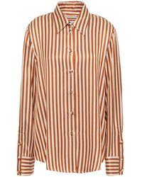 Sara Battaglia Striped Satin-twill Shirt - Multicolour