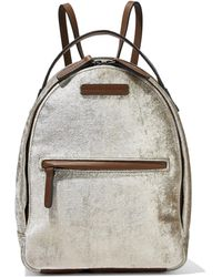 Brunello Cucinelli Bead-embellished Velvet And Leather Backpack Neutral - Multicolour