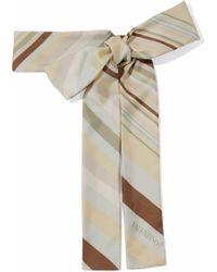 Valentino Striped Silk-twill Scarf Sky Blue