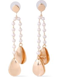 Kenneth Jay Lane Brushed Gold-plated Faux Pearl Earrings Gold - Metallic