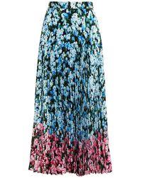 Mary Katrantzou Pleated Floral-print Crepe Midi Skirt Light Blue