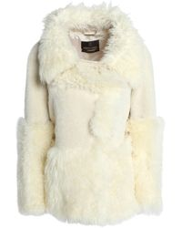 Roberto Cavalli Shearling-trimmed Alpaca-blend Coat Cream - Natural