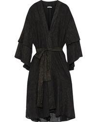 Mes Demoiselles Reflexion Layered Glittered Crinkled-chiffon Kimono Black