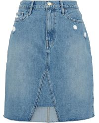 FRAME Distressed Denim Skirt Mid Denim - Blue
