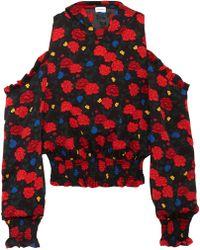 Magda Butrym - Foggia Cold-shoulder Printed Silk-crepe Hooded Top - Lyst