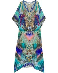 Camilla Crystal-embellished Printed Silk Crepe De Chine Kaftan Turquoise - Blue