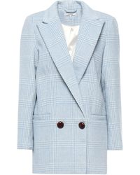 Ganni Woodside Double-breasted Prince Of Wales Checked Wool-blend Blazer Sky Blue