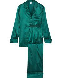 Iris & Ink Mairead Striped Stretch-silk Satin Pajama Set Emerald - Green