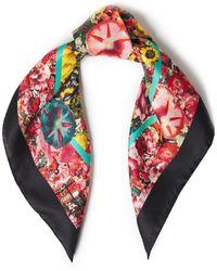 Marni Floral-print Silk-satin Twill Scarf Black