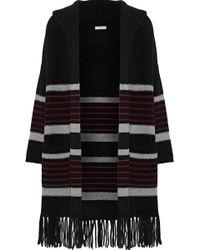 Joie - Woman Gabrina Striped Wool And Yak-blend Hooded Cardigan Black - Lyst