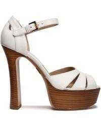 Michael Kors - Cutout Leather Platform Sandals - Lyst