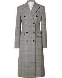 CALVIN KLEIN 205W39NYC Prince Of Wales Checked Wool And Silk-blend Coat Grey - Gray