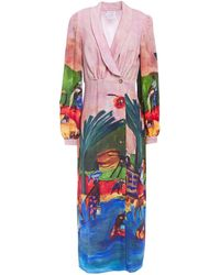 Stella Jean Gathered Printed Crepe De Chine Midi Dress - Pink