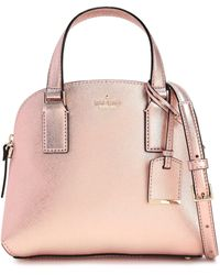 Kate Spade Cameron Street Lottie Metallic Textured-leather Shoulder Bag Rose Gold - Pink