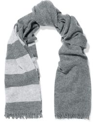 Duffy - Striped Wool And Cashmere-blend Scarf Dark Green - Lyst