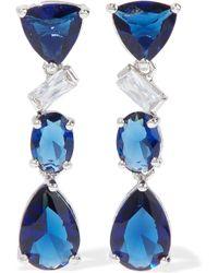 CZ by Kenneth Jay Lane - Woman Silver-tone Crystal Earrings Blue - Lyst