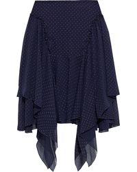 See By Chloé See by chloé asymmetrischer minirock aus chiffon in knitteroptik mit polka-dots und metallic-effekt - Blau