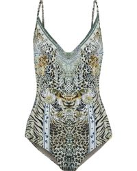 Camilla - Crystal-embellished Printed Swimsuit Animal Print - Lyst
