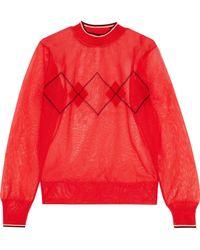 Isabel Marant - Hilary Metallic Intarsia-knit Sweater Tomato Red - Lyst