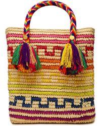 Yosuzi Iris Tasseled Woven Straw Tote Multicolor