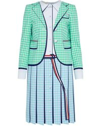 Thom Browne Woman Poplin-paneled Grograin-trimmed Printed Wool Dress Mint Size 40 Thom Browne bs5iQrXeNS