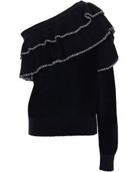 IRO One-shoulder Tiered Knitted Jumper - Black