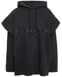 MM6 by Maison Martin Margiela Printed French Cotton-terry Hoodie - Black