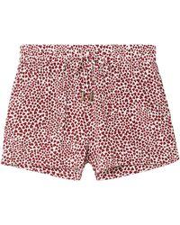Anine Bing Ashley Printed Washed-silk Pyjama Shorts Red
