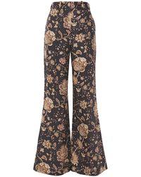 Zimmermann Veneto Printed Linen Flared Pants - Brown