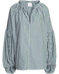 Stella Jean - Gathered Striped Cotton-poplin Blouse - Lyst