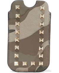 Valentino Studded Printed Canvas And Leather Iphone Case Taupe - Brown