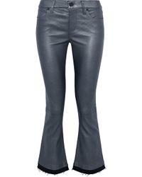 RTA - Kiki Denim-trimmed Metallic Leather Kick-flare Pants - Lyst