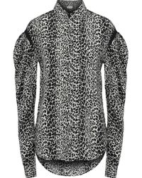 Saint Laurent Gathered Leopard-print Silk Crepe De Chine Shirt Animal Print - Black