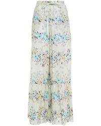 RED Valentino Gathered Printed Silk Wide-leg Pants Sky Blue - Multicolour