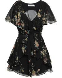 b69de2b338 Zimmermann - Woman Floral-print Silk-georgette Playsuit Black - Lyst