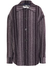 Acne Studios Wool-blend Jacquard Coat Dark Purple