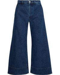 Acne Studios Cropped High-rise Wide-leg Jeans Dark Denim - Blue