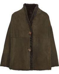 Karl Donoghue Shearling Coat Army Green