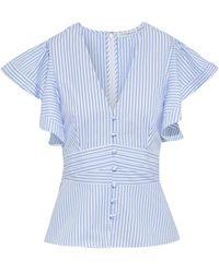 Veronica Beard Han Ruffled Striped Cotton-broadcloth Peplum Top - White